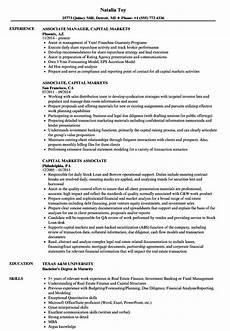 Venture Capital Resume Sample Capital Markets Associate Resume Samples Velvet Jobs