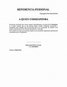 Cartas De Referencias Personal Referencia Personal Copia By Roger David Flores Garzon Issuu