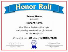 Honor Roll Certificate Templates Honor Roll Certificate Template