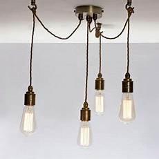 Multi Cord Light Fitting Multi Grip Ceiling Plate In Lovely Vintage Brass
