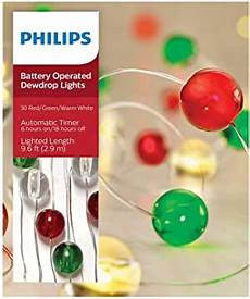 Philips 30ct Christmas Battery Operated Led Dewdrop Fairy String Lights Amazon Com Philips 30ct Christmas Battery Operated Led