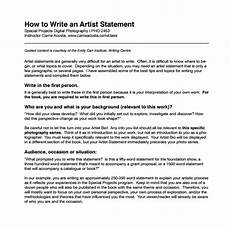 Artist Essay Examples Free 8 Sample Artist Statement Templates In Pdf