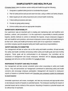 Sample Safety Plan Construction Safety Plan Template 20 Free Word Pdf