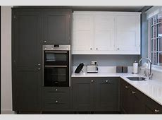 Optiplan Kitchen   painted battleship grey base units and