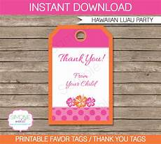 Party Favor Tag Hawaiian Luau Party Favor Tags Thank You Tags