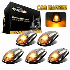 Black Clearance Lights 5pcs Clear Amber Led Cab Roof Marker Top Clearance