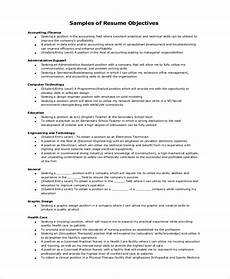 Objective For A General Resumes Free 10 Resume Objective Samples In Ms Word Pdf
