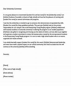 Sample Letter Of Recommendation For Scholarship Free 6 Sample Scholarship Recommendation Letter Templates