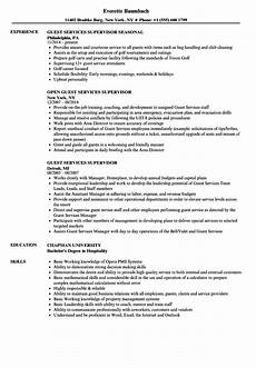 Guest Services Resume Guest Services Supervisor Resume Resume Templates