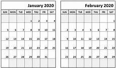Calendars January 2020 February 2020 January February 2020 Calendar Printable Templates With