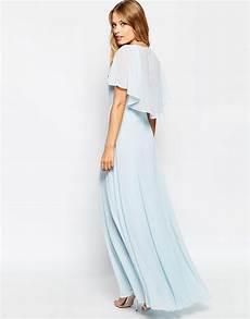 flutter sleeve maxi dress cookbooks lyst asos flutter sleeve cape back maxi dress in blue