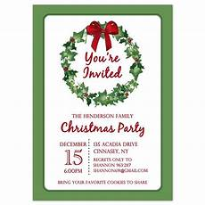 Office Christmas Party Invites Christmas Party Invitations Christmas Wreath Design