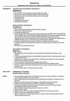 Electronic Technician Resumes Electronic Technician Resume Samples Velvet Jobs