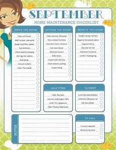 House Maintenance Checklist September Organization And Home Repair Checklist