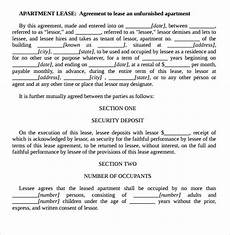 Rental Agreement Template Word Document Sample Apartment Rental Agreement Template 7 Free