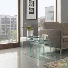 modern cascade glass nesting table set 3 with