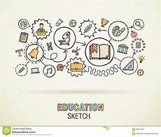education draw sketch icons stock vector image