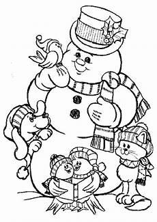 ausmalbilder zu weihnachten schneemann mit tiere hund