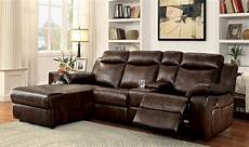 sectional sofa console recliner modern brown leatherette