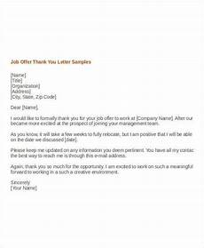 Job Offer Thank You Letter 11 Job Offer Thank You Letter Templates Pdf Doc Apple