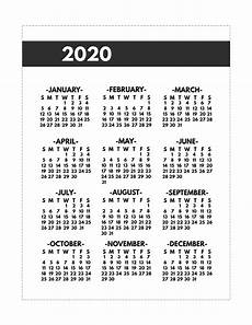 Mini Calendars To Print 2020 Printable One Page Year At A Glance Calendar Paper