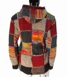 1 wool 100 fleece lined patchwork knit jacket hippy