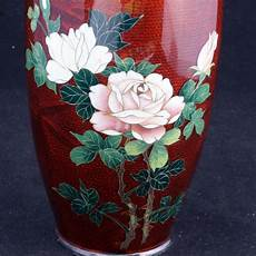 Japanese Rose Designs Japanese Cloisonn 233 Ginbari Vase In Red With A Rose Design
