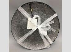 x4 Akcam Turkish Glass Dessert Plate Set Holiday Silver