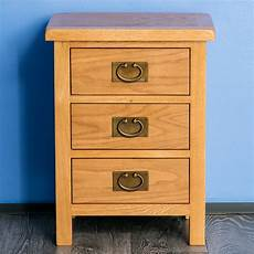 surrey oak bedside table waxed 3 drawer bedside cabinet