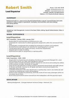 Dispatcher Resume Lead Dispatcher Resume Samples Qwikresume