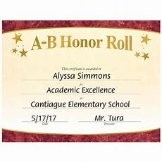 Honor Roll Certificate Templates A B Honor Roll Gold Foil Stamped Certificates Positive