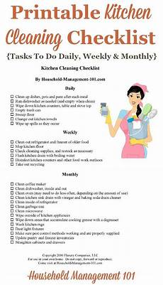Kitchen Duty Chart Kitchen Cleaning Checklist Daily Weekly And Monthly