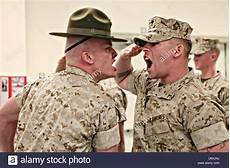 Marines Corps Drill Instructor A Us Marine Corps Drill Instructor Screams At A Marine