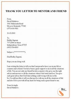 Thank You Letter To Mentor Thank You Letter Template To Mentor Sample Amp Examples