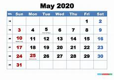 2020 Printable Monthly Calendar With Holidays Free Printable May 2020 Calendar With Holidays Free