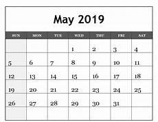 Editable Calander May 2019 Calendar Editable Printable Blank Template With