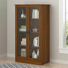 wood storage display cabinet glass doors bookcase china