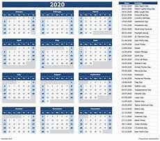 Yearly Calendar 2015 2020 2020 Download 2020 Yearly Calendar Sun Start Excel Template