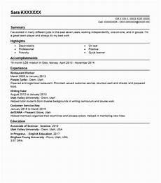 Resume For Restaurant Job Restaurant Worker Resume Sample Worker Resumes Livecareer
