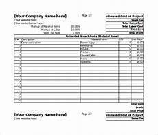 Estimating Sheet 26 Blank Estimate Templates Pdf Doc Excel Odt Free