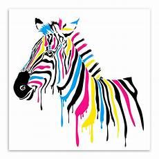 Colorful Zebra Design Modern Minimalist Animals Colorful Zebra Canvas Large Art