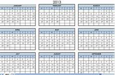 Calendar 2013 Template Excel 2013 Printable One Page Calendar Yearly Excel Template