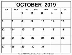 October Calendar Free Printable October 2019 Calendar