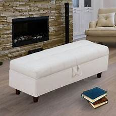 homcom ottoman storage bench stool for bed end hallway in
