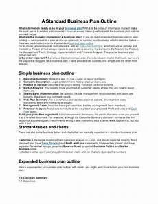 Standard Business Plan Outline A Standard Business Plan Outline