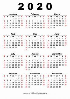 One Page Yearly Calendar 2020 2020 Calendar One Page