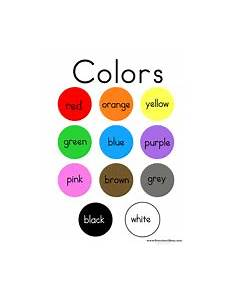 Basic Color Chart For Kids Color Preschool Printables Classroom Charts Color