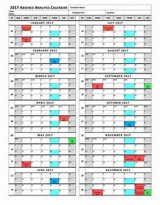 Absenteeism Report Template Employee Absence Calendar Template Example Calendar