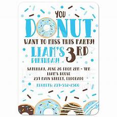 Toddler Birthday Invitation Blue Donut Kids Birthday Invitation Donut Want To Miss Party