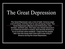 Essay About Great Depression The Great Depression Power Point